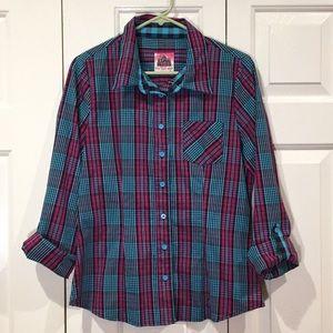 A Fine Mess colorful plaid shirt size large EUC
